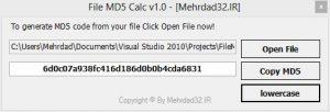 نرمافزار FileMD5Calc ابزاری ساده برای ایجاد کد MD5 برای فایلها