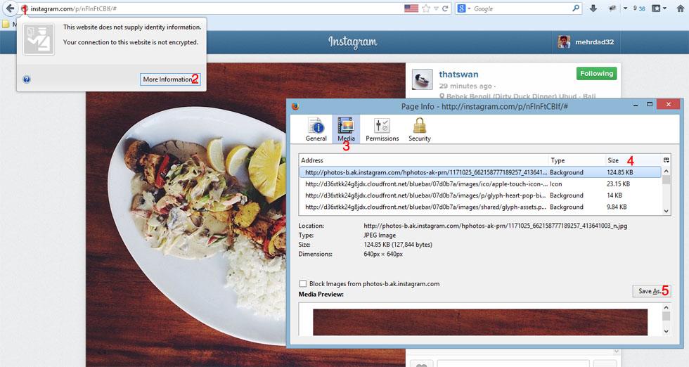 ذخیره تصاویر اینستاگرام در موزیلا - برای نمایش در اندازه بزرگ روی عکس کلیک نمایید