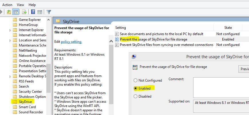 غیرفعال سازی SkyDrive در ویندوز
