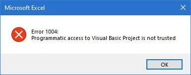 رفع خطای 1004 در Excel