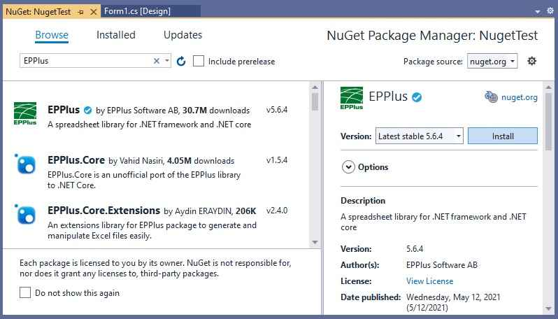EPPlus Nuget Package Installation
